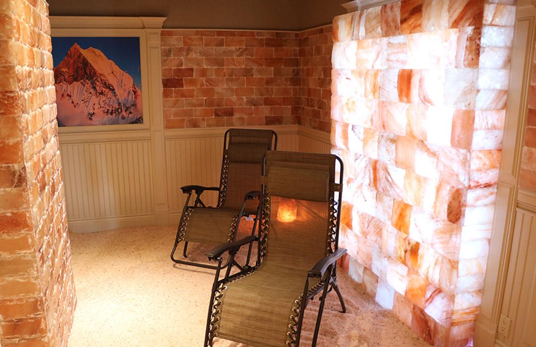 Rear: salt wall with flat salt bricks. Foregound: fully backlit natural salt bricks