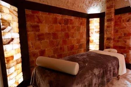 Salt wall combo with natural salt bricks and wooden beams